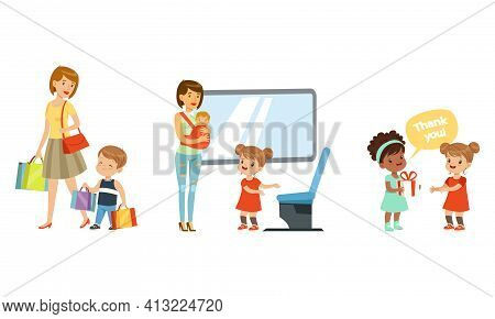 Polite Girl Yielding A Seat To Woman With Baby In Public Transport And Boy Carrying Shopping Bags Ve