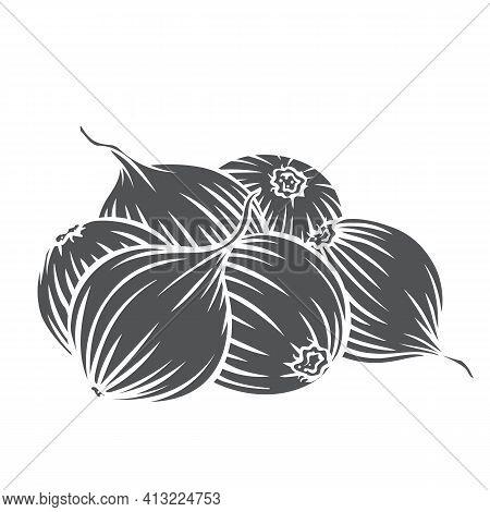 Pile Of Onion Bulbs Glyph Icon, Vector Cut Monochrome Badge. Engraved Onion Vegetables, Farm Product