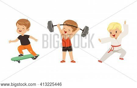Pretty Little Boy Doing Sport Activity And Playing Sport Game Vector Set