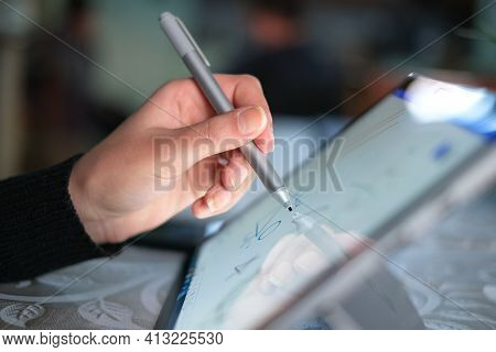 Left Woman Had While Using Graphics Tablet Stylus For Home Smart Working, Digital Technology