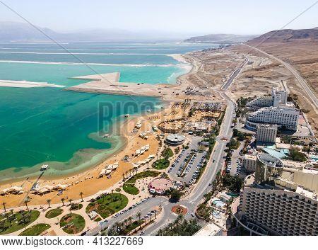 Ein Bokek, Israel, March 13, 2021 : Aerial View From A Drone Of The Beach On The Ein Bokek Embankmen