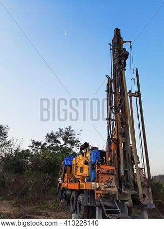 Bangalore, Karnataka, India-march 07 2021: Closeup Of Borewell Drilling Lorry Or Vehicles With Tools