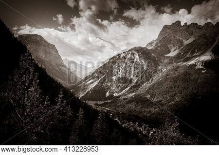 Mountain And Pastures Landscape In Pralognan La Vanoise. French Alps. Black And White Photography