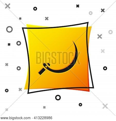 Black Sickle Icon Isolated On White Background. Reaping Hook Sign. Yellow Square Button. Vector