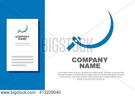 Blue Sickle Icon Isolated On White Background. Reaping Hook Sign. Logo Design Template Element. Vect