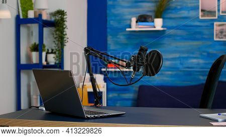 Online Live Podcast Studio Desk With Microphone In Home Studio Of Vlogger. Influencer Recording Soci