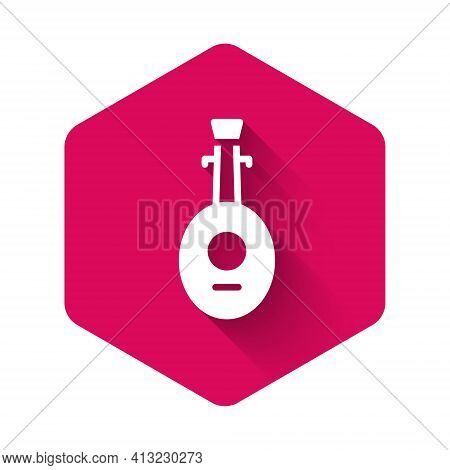 White Musical Instrument Lute Icon Isolated With Long Shadow Background. Arabic, Oriental, Greek Mus