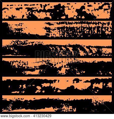 Set Of Grunge Brush Strokes. Paint Edges, Ink Borders. Black Paintbrush, Hand Drawn Edges Pattern Ba