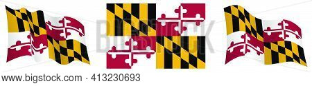 Flag Of American State Of Maryland In Static Position And In Motion, Fluttering In Wind In Exact Col
