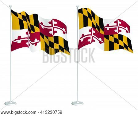Flag Of American State Of Maryland On Flagpole Waving In Wind. Holiday Design Element. Checkpoint Fo