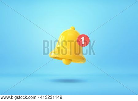 Yellow Notification Bell With One New Notification On Blue Background. 3d Rendering