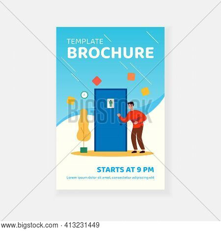 Unhappy Man Suffering From Diarrhea, Knocking Public Bathroom Door. Vector Illustration For Stomach