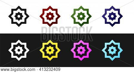 Set Islamic Octagonal Star Ornament Icon Isolated On Black And White Background. Vector