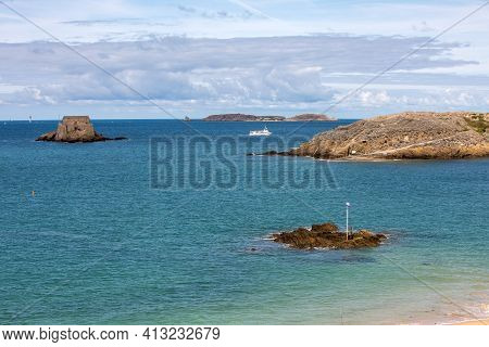 St Malo, France - September 14, 2018: View Of Fort Du Petit Be In St Malo. Brittany, France