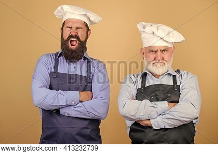 Family Restaurant. Chef Men Wear Aprons. Father And Son Culinary Hobby. Cafe Workers. Restaurant Kit