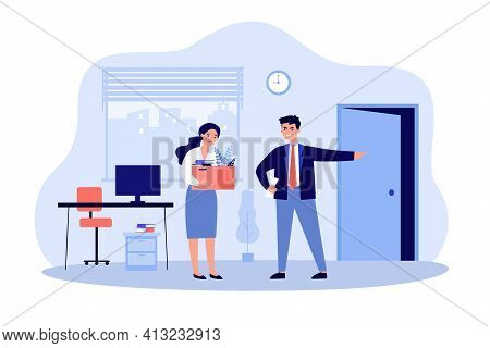 Angry Boss Man Dismissing Sad Employee Woman. Unhappy Fired Person Leaving Office Work Place Flat Ve