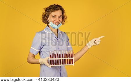 Medical Professional Developing Vaccine. Coronavirus Treatment. Creating Vaccine. Doctor Respirator
