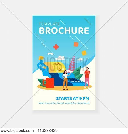 Creative Tiny Writers Writing Chapter Of Book Isolated Flat Vector Illustration. Cartoon Poetry Or N