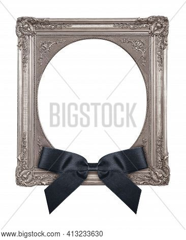 Silver Frame With Black Mourning Bow For Paintings, Mirrors Or Photo Isolated On White Background