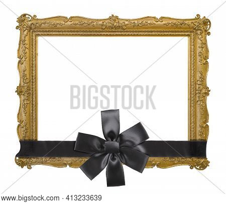 Golden Frame With Black Mourning Ribbon For Paintings, Mirrors Or Photo Isolated On White Background