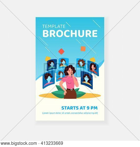 Thoughtful Woman Choosing Hairstyle In Cyber Space Isolated Flat Vector Illustration. Cartoon Lady L