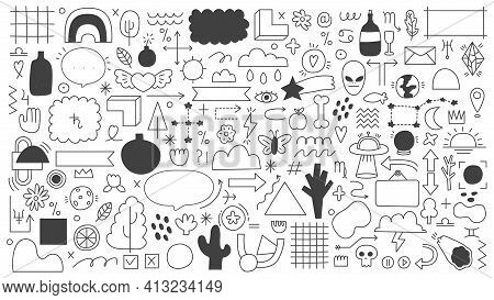 Doodle Outline Elements. Abstract Doodle Sketches, Decorative Frames, Arrows And Ribbons. Hand Drawn
