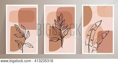 Leaves Line Art Drawing With Abstract Shape. Contemporary Abstract Plant. Botanical Wall Art Vector