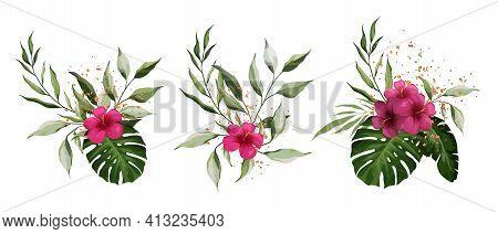 Hibiscus, Tropical Exotic Leaves Isolated On White Background. Gold Splashes Of Decoration. Realisti