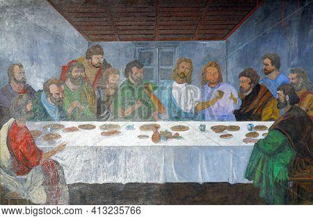 OSTARIJE, CROATIA - JULY 14, 2013: Last Supper, Our Lady of Miracles Parish Church in Ostarije, Croatia