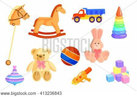 Colorful Baby Toys Set. Cartoon Kid Rocking Horse, Truck, Ball, Soft Bear, Rabbit, Water Gun, Cubes,