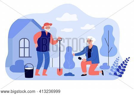 Senior Man And Woman Family Planting Tree In Garden. Active Elderly Couple People Gardening Flat Vec