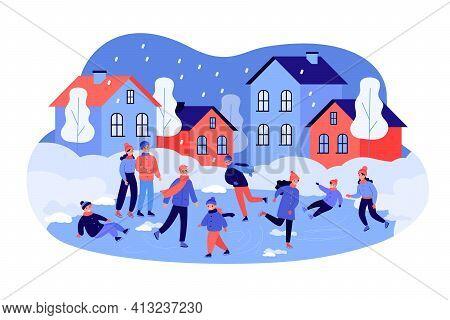 Men, Women, Kids, Families Ice Skating On City Rink In Winter. Ice Skaters People Having Fun Flat Ve