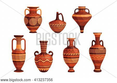 Ancient Greek Vases And Pots Set. Decorative Ornate Greece Amphorae, Jugs, Urns, Oil Jars Pottery Ob
