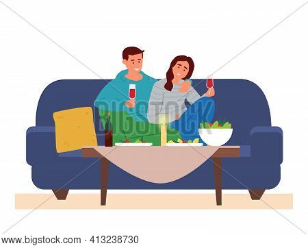 Couple Having Romantic Dinner At Home. Man And Woman Sitting On The Couch  At Table With Snacks Rasi