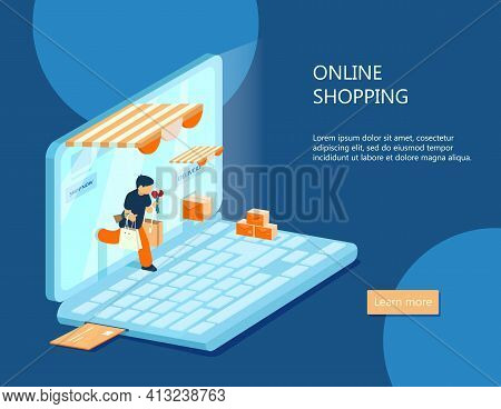 Vector Isometric E-commerce Banner. Online Shopping Concept. Man With Purchases Walks Out From Lapto