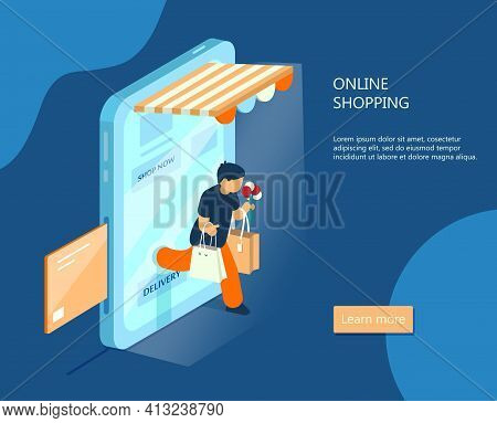 Vector Isometric E-commerce Banner. Online Shopping Concept. Man With Purchases Walks Out From Smart