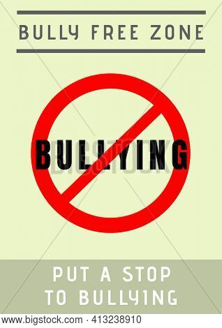 Digitally generated image of bully free zone text and symbol against yellow background. combating bullying template design concept