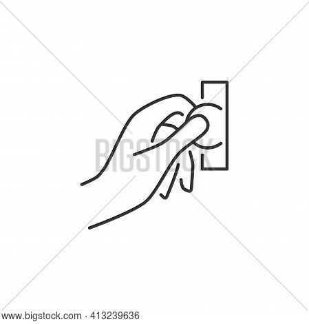 Hand Insert Coin Into The Coin Acceptor Related Vector Line Icon. Sign Isolated On The White Backgro