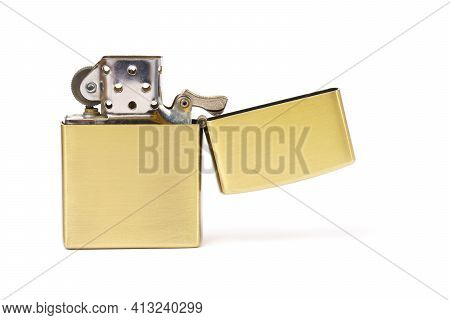 Silver Metal Smoker Lighter Isolated On White Background.