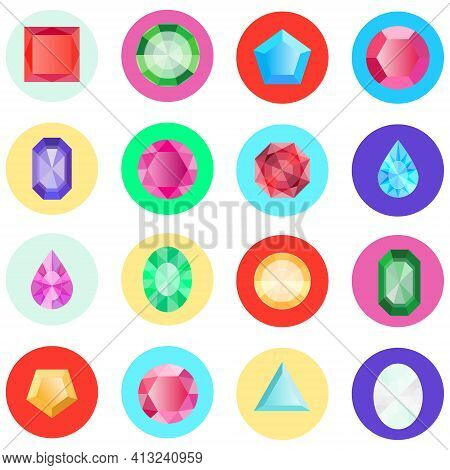 Gems, A Large Collection Of Gems Of Different Shapes. Vector, Cartoon Illustration. Vector.