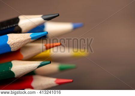 A Few Colored Pencils. Close-up, Selective Focus
