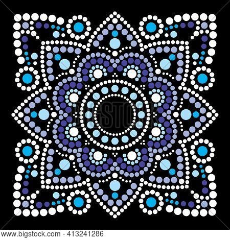 Dot Art Vector Ethnic Mandala In Square, Traditional Indigenous Aboriginal Dot Painting Design From