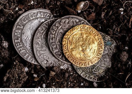 Closeup View Of Medieval European Gold And Silver Coins.old Polish Coins.zygmunt Iii Waza.ancient Go