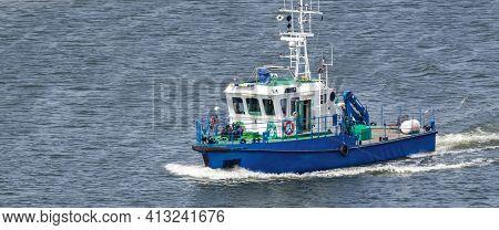 Motorboat - The Boat Of Maritime Office In Roadstead Port Sea Of Swinoujscie
