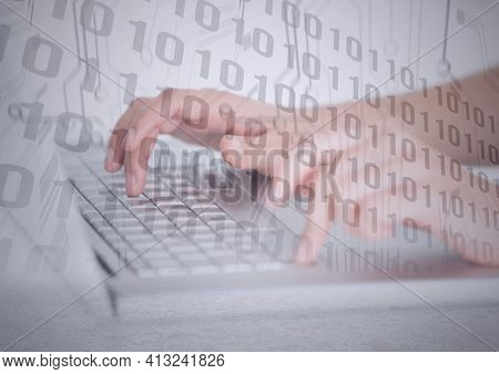 Composition of binary coding processing over person typing on computer keyboard. online cyber security concept digitally generated image.