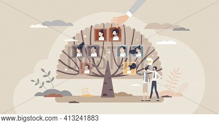 Family Tree With Generation Connection And Origin History Tiny Person Concept