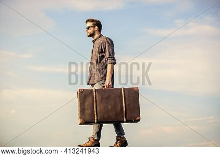 Man Carrying His Things In Baggage. Business Trip. Handsome Guy Traveler. Travel With Luggage. Vacat