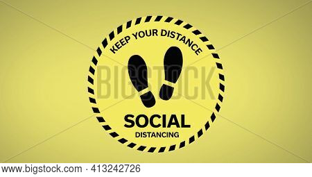 Illustration of keep your distance social distancing and footprints sign on yellow background. covid 19 pandemic and social distancing concept digitally generated image.