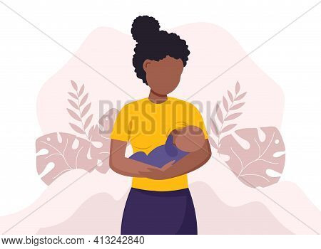 Breastfeeding Illustration, Black Mother Feeding A Baby With Breast With Nature And Leaves Backgroun