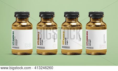 Vitamin injection vial glass bottles on green background